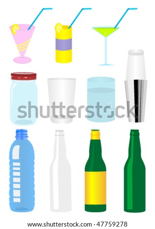 Set of detailed glass and plastic recipients - stock vector