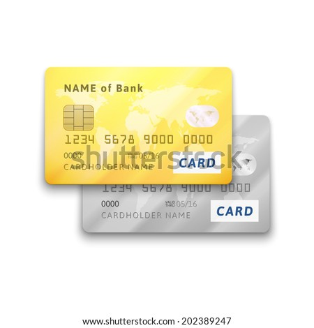 Set of detailed glossy gold and silver credit cards, vector realistic icons isolated on white background