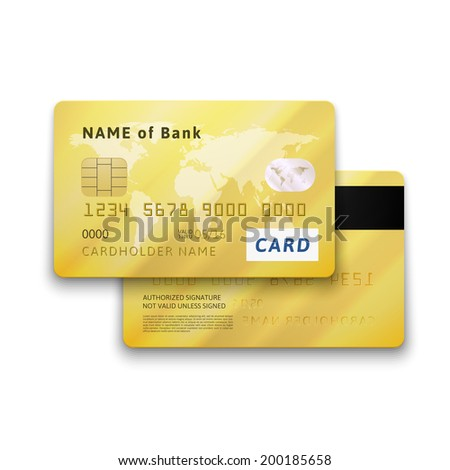Set of detailed glossy gold credit card with two sides, vector realistic icons isolated on white background - stock vector