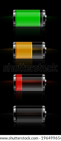 Set of detailed glossy transparent battery level indicator icons - stock vector