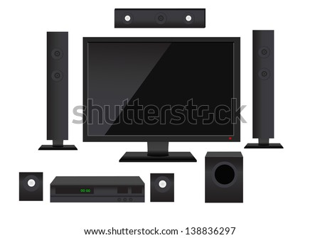 Set of detailed home theater