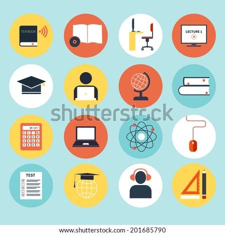 Set of detailed icons about e-learning. Illustration of digital education in modern and clean flat style. Big collection of education icons, including school subjects, e-learning concept. - stock vector