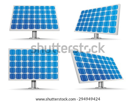 set of detailed illustration of a solar cell panels, eps10 vector - stock vector