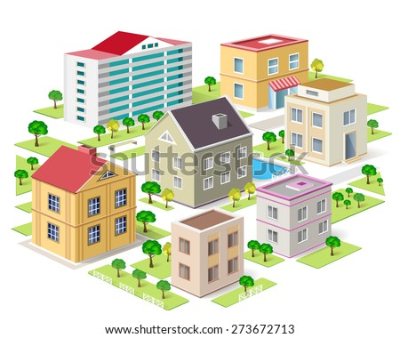 Set of detailed isometric colorful buildings. 3d graphic city with trees. Isolated vector illustration.