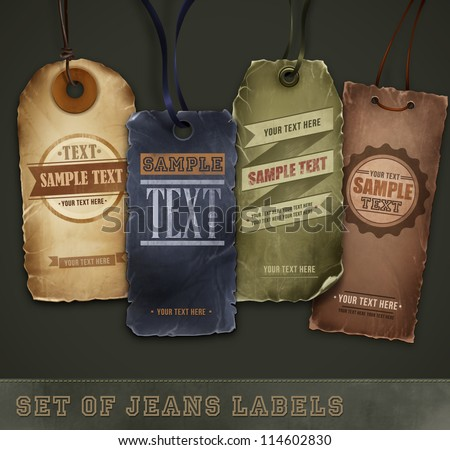 Set of detailed jeans tags - stock vector