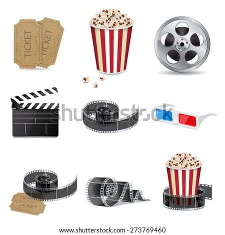 Set of detailed movie icons. EPS10 vector