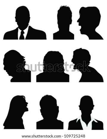 Set of detailed silhouettes of heads 3,vector