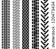 Set of detailed tire prints, vector illustration - stock
