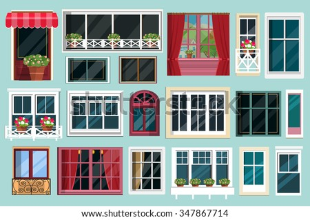 Set of detailed various colorful windows with windowsills, curtains, flowers, balconies. Flat style vector illustration - stock vector