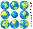 Set of detailed vector globes showing earth with all continents - stock vector