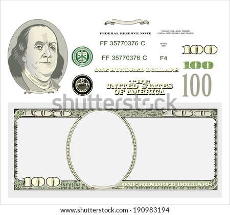 Set of detailed vector ornaments  hundred dollar bills - stock vector