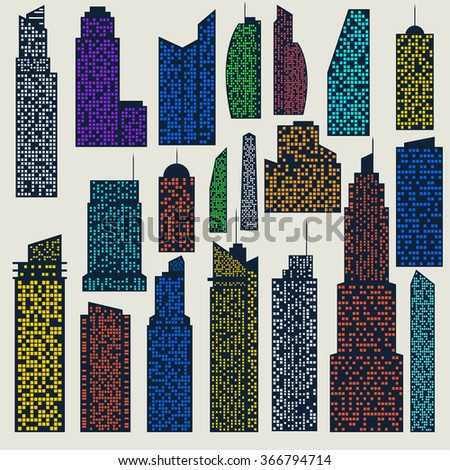 Set of detailed vector skyscraper for design and collages - stock vector