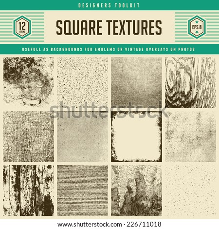 set of 12 detailed vector textures - from subtle halftones to heavily distressed wood and wall textures - stock vector