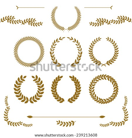 Set of detailed vector victory laurel wreaths. Easy to edit and change colors. - stock vector