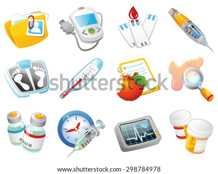 Set of Diabetes Mellitus treatment three-dimensional vector icons.  - stock vector