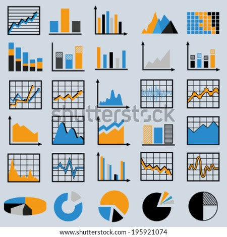 Set of diagrams and graphs vector - stock vector