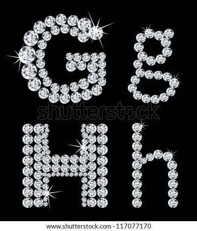 Set of diamond alphabetic letters . Vector illustration - stock vector