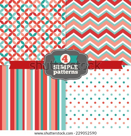 Set of Diamond, Chevron, Stripes and Polka Dot Holiday Patterns in Red, Light Red, Teal, Light Teal and White. Zigzag, dots. Perfect for wallpapers, pattern fills, web page backgrounds, textile  - stock vector