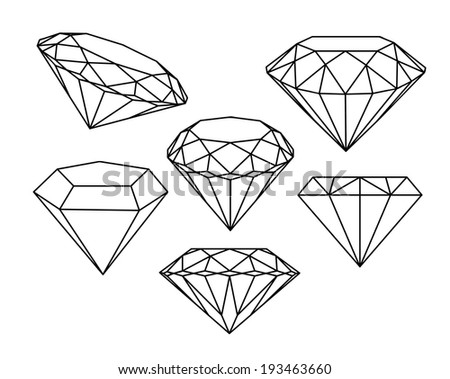 Set of diamonds icons. Vector illustration. - stock vector