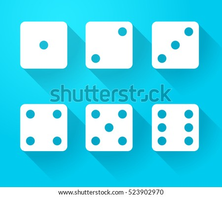 Set of dice icons with long shadow