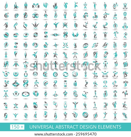 Set of different abstract flat cyan elements for design logo. Vector illustration eps 10 - stock vector