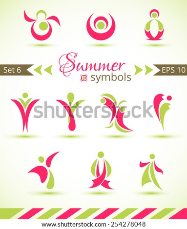 Set of different abstract flat summer and spring elements for design logo. Vector illustration  - stock vector