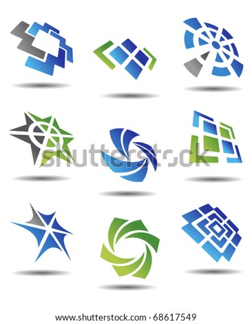 Set of different abstract symbols for design - also as emblem or template. Jpeg version also available in gallery - stock vector