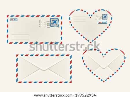 Set of different airmail envelopes with the front and back of a rectangular and heart shaped envelope blank for your address - stock vector