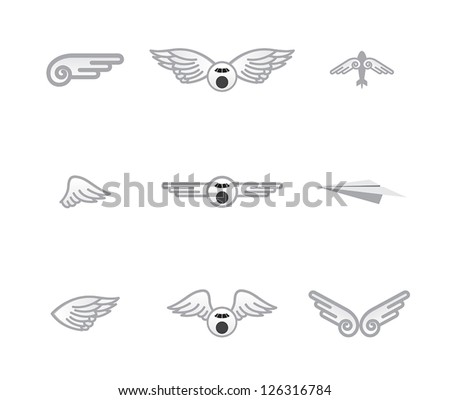 set of different airplane� logos - stock vector