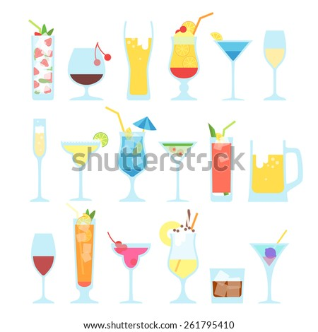 Set of different alcoholic cocktails. - stock vector