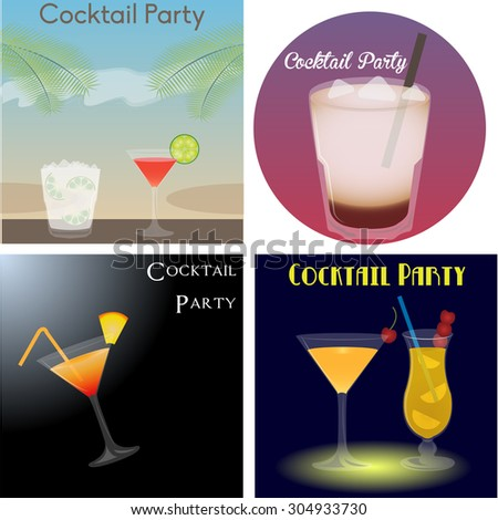 Set of different banners and backgrounds with text and cocktails. Vector illustration