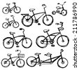 Set of different bikes, sketch. Children's bicycle, tandem. sketch vector - stock vector