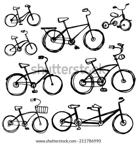 Set of different bikes, sketch. Children's bicycle, tandem. sketch vector - stock vector