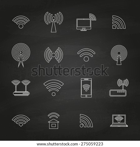 Set of different black vector wireless and wifi icons for remote access and communication via radio waves on chalkboard. Vector illustration.