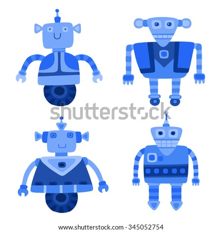 Set of different blue cute robots. Vector illustration.