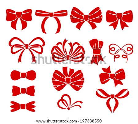 Set of different bows. - stock vector