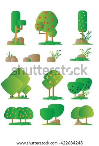 Set of different cartoon flora of orchard in flat design, bushes, trees, rocks. Video Game - stock vector