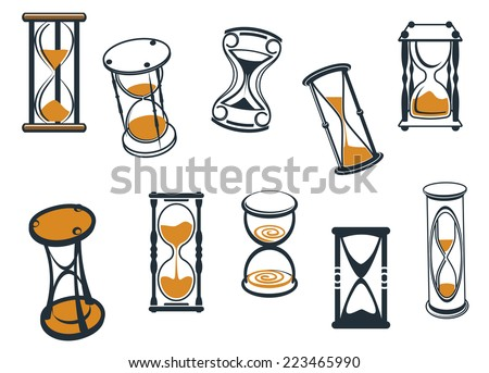 Set of different cartoon  hourglasses or egg timers with sand running through measuring passing time, vector illustration on white - stock vector