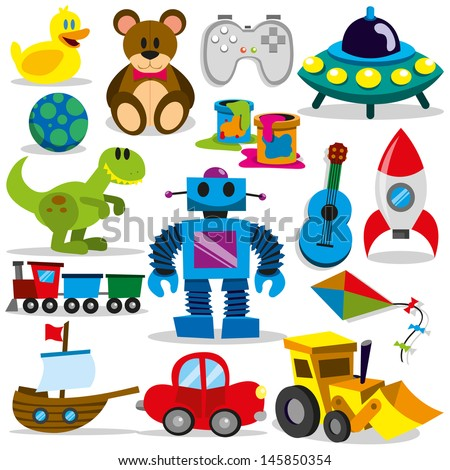 set of different cartoon vector toys - stock vector