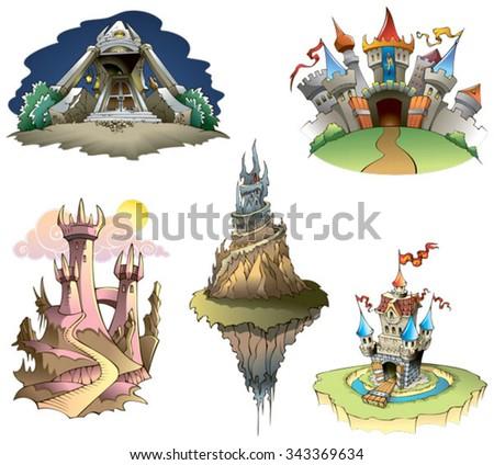 Set of different castles, vector illustration - stock vector