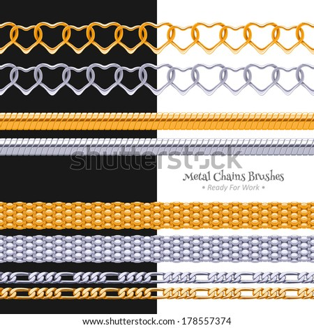 Set of different chains metal brushes - golden and silver. - stock vector