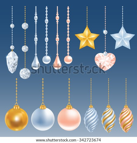 Set of different christmas decorations. Perl, diamond, christmas balls, heart, stars. Vector illustration. - stock vector