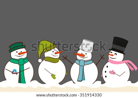 Set of different Christmas Snowman. with a bucket on his head in the scarf. vector illustration - stock vector
