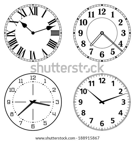 Set Of Different Clock Faces Editable Easily Remove And Replace Hands Design