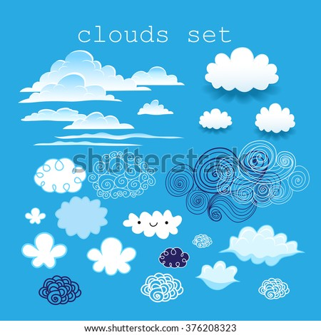 set of different clouds in the sky on a blue sky background