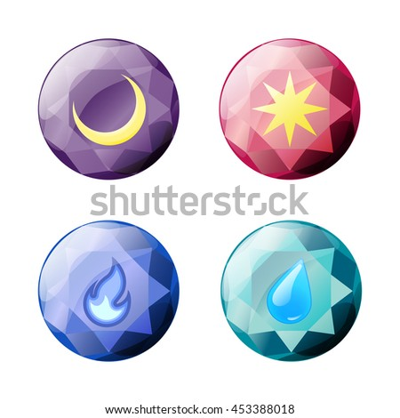 Set of different color round shapes crystals, gemstones, gems, diamonds, brooches. Vector gui assets collection for game design isolated on white background.