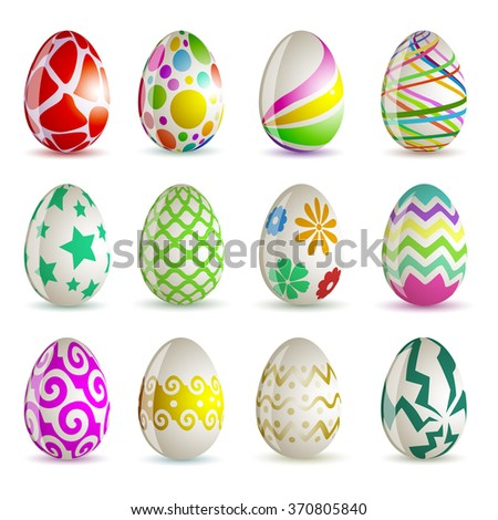 Set of 12 different colored Easter eggs. Easter 2016. Vector. - stock vector