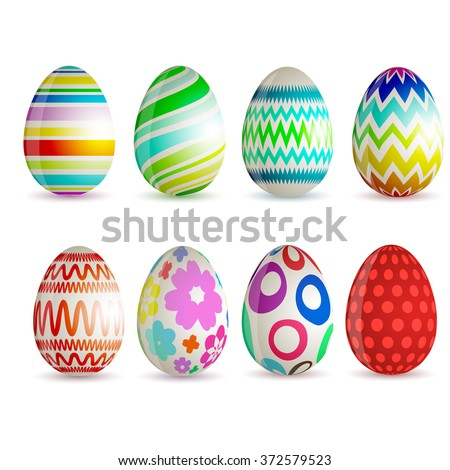 Set Of 8 Different Colored Easter Eggs Vector