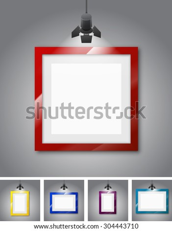 Set of different colored frames gallery room gray wall interior illuminated with spotlights. Realistic 3d vector illustration - stock vector