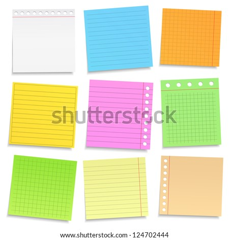 Set of different colored paper notes, vector eps10 illustration - stock vector